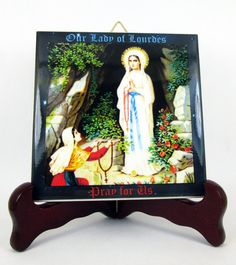 Our Lady of Lourdes - Virgin Immaculate - ceramic tile art - catholic gift perfect for a prayer room or as a devotional gift  religious icon