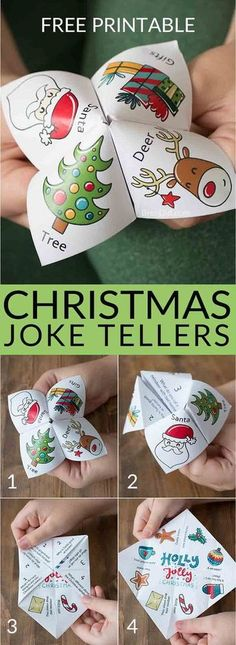 Christmas joke tellers christmas jokes for kids school party christmas party free printable holiday jokes for kids cootie catcher fortune teller christmas fortuneteller joketeller christmasforkids Christmas Jokes For Kids, School Christmas Party, Christmas Projects, Winter Christmas, Christmas 2019, Family Christmas, Christmas Activities For Children, Class Christmas Gifts, Childrens Christmas Crafts