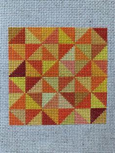 Biscornu Cross Stitch, Cross Stitch Borders, Modern Cross Stitch, Cross Stitch Designs, Cross Stitching, Cross Stitch Embroidery, Cross Stitch Patterns, Half Square Triangle Quilts, Square Quilt