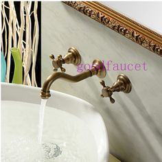 Free Shipping Wholesale And Retail PromotionAntique Brass Lavatory Bathroom Vanity Faucet Wall Mounted Basin Sink Mixer Tap