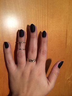 Black matte almond nails