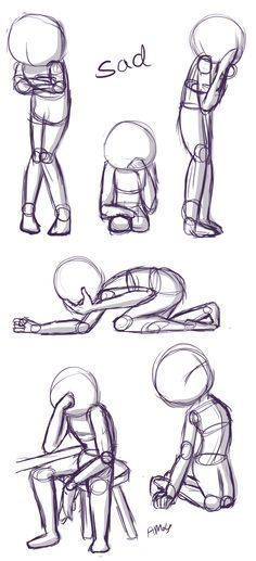 Positions: This is a quick little reference sheet of sad poses. - verlobungsringe Sad Positions: This is a quick little reference sheet of sad poses.Sad Positions: This is a quick little reference sheet of sad poses. Pencil Art Drawings, Art Drawings Sketches, Cute Drawings, Horse Drawings, Drawing Base, Figure Drawing, Drawing Drawing, Anatomy Drawing, Gesture Drawing