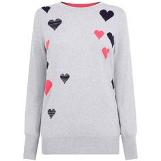 Oasis Heart Cosy Knit, Mid Grey (275530 PYG) ❤ liked on Polyvore featuring tops, sweaters, long sleeve sweater, heart print sweater, knit top, grey knit sweater and grey heart sweater