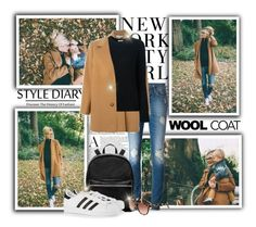 """""""Barefoot Blonde: Wool Coat for a Walk"""" by katyusha-kis ❤ liked on Polyvore featuring 7 For All Mankind, STELLA McCARTNEY, Equipment, Elizabeth and James, adidas Originals and Derek Lam"""