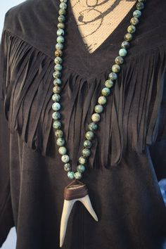 Boho Necklace, African Turquoise Necklace,Deer Antler Necklace,Forked Antler Necklace, Horn Necklace, Tusk Necklace, Leather Necklace,Spring by NatnatCreations on Etsy