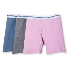 Hanes Premium Women's Boyfriend Mid Thigh Boxer Brief 3-Pack - Multi-Colored M, Multicolored