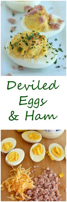 Adding ham and cheese to deviled eggs sends them over the top! These are the first thing gone on my Easter buffet every year!  Little Dairy on the Prairie