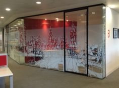 Glass manifestation in Microsoft London offices