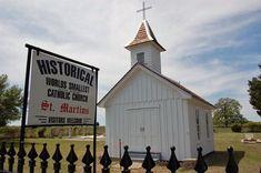 The world's smallest active Catholic church. Warrenton, TX.