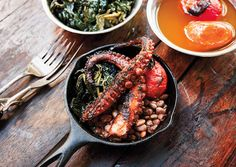 Grilled Octopus with Kale, Tomato, and Beans