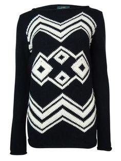 LRL Lauren Jeans Co. Women's Intarsia Chevron Pullover Sweater