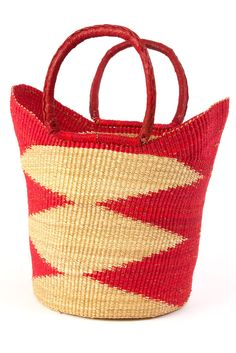 Gorgeous Red Ghanaian Wing Shopper with Leather Handles-For Mother's Day