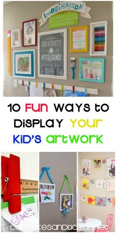 10 FUN WAYS TO DISPLAY YOUR KID'S ARTWORK ... Easy and fun DIY Artwork Displays. Using simple supplies you already have hanging around the house (pun intended ;))