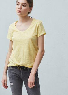 T-shirt en coton jaspé -  Femme | MANGO France