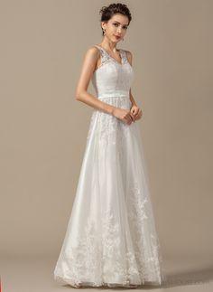 I like this floor-length lace wedding dress.  #JJsHouse