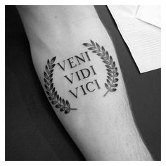 60 Veni Vidi Vici Tattoo Designs For Men - Julius Caesar Ideas ❤ liked on Polyvore featuring men's fashion