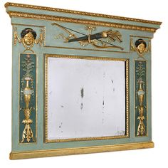 Italian Classical Painted Overmantel Mirror,  Lombardy | From a unique collection of antique and modern mantel mirrors and fireplace mirrors at https://www.1stdibs.com/furniture/mirrors/mantel-mirrors-fireplace-mirrors/