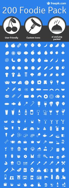 Today we (Smashing Magazine) are pleased to feature a set of 200 useful and beautiful foodie icons. This freebie was created by the team behind Freepik, and at the time of writing it's the largest set of food icons available on the web in one pack.