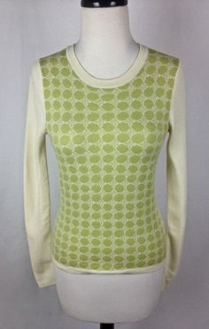 Banana Republic Sweater Womens Green Merino Wool Long Sleeve XS #BananaRepublic #Crewneck