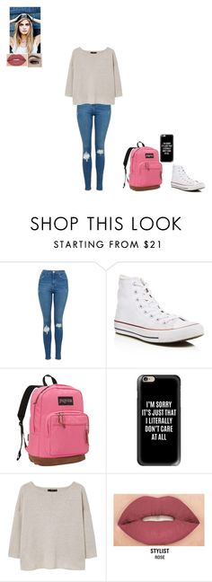 """""""where do i begin"""" by gabby-1606 on Polyvore featuring Topshop, Converse, JanSport, Casetify, MANGO and Smashbox"""