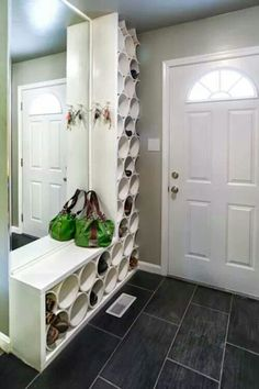 Pvc pipe for shoes storage