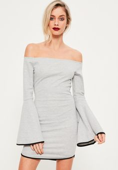 Missguided - Grey Curved Hem Bardot Dress
