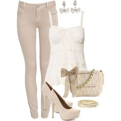light sand jeans and tank top, created by missyalexandra on Polyvore