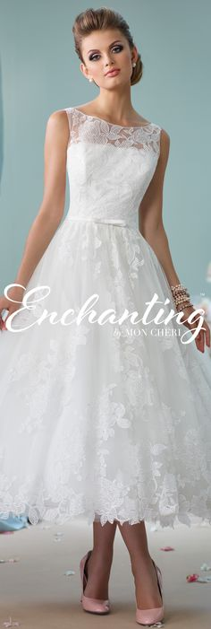 Enchanting by Mon Cheri Spring 2016 ~Style No. 116136 #shortlaceweddingdress