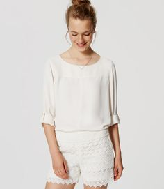 """Seamed Blouse - Loft, in """"Whisper White"""" This is the rare white blouse which is nearly opaque. Sometimes we want the see-through lines, but rarely in the circumstances where one would wear a professional white blouse. ;)"""
