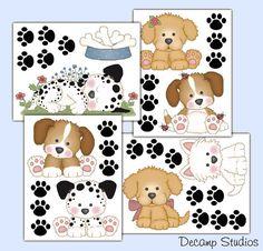 PUPPY DOG DECALS Wall Art Baby Girl Boy Nursery Kids Room Stickers Decor