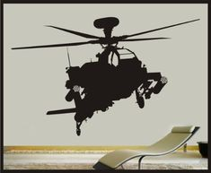 """Military Apache Helicopter vinyl wall decal - 27""""x47"""" Sticker - Removeable wall art Childrens boys room Matte Black Sticker Connection,http://www.amazon.com/dp/B00BI4B7SG/ref=cm_sw_r_pi_dp_sy8Psb1E0894N6P0"""