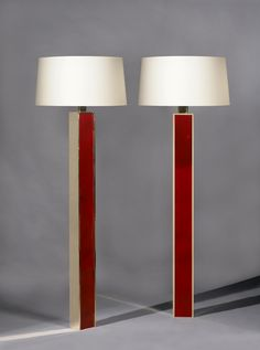 Jacques Quinet; Gilded Bronze and Lacquer Floor Lamps, 1960.
