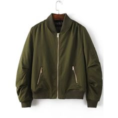Army Green Ribbed Trim Bomber Quilted Jacket (60 CAD) ❤ liked on Polyvore featuring outerwear, jackets, collared bomber jacket, green quilted jacket, short jacket, stand up collar jacket and zip jacket