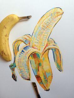"noelbadgespugh: "" banana study "" <<< that's amazing art Art Sketches, Art Drawings, Art Et Design, Blog Design, Graphic Design, Banana Art, Posca Art, Creation Art, Arte Sketchbook"