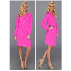 Lilly Pulitzer Turner Dress, Mambo Pink NWT This 100% silk easy-fitting tunic-style dress has intricate mirror details, smocking at neckline, an elastic waist, 3/4 length sleeves with elastic band and is unlined. New with tags, Never used. Size: Small Lilly Pulitzer Dresses