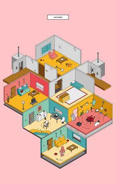 Pacha Magazine Issue October 2016 on Behance Building Illustration, Flat Design Illustration, House Illustration, Isometric Art, Isometric Design, Architecture Collage, Architecture Graphics, Pixel Art, Wow Art