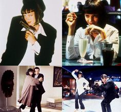 Uma Thurman as Mrs. Mia Wallace in Pulp Fiction. White shirt, black, bootcut capri pants and bare feet with painted toes or black ballet flats.