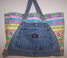 Handmade Denim Bib Overall Beach Bag