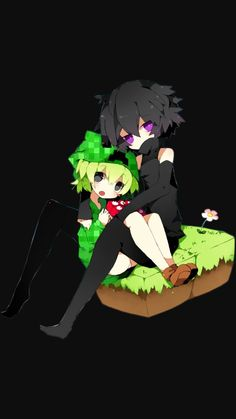 Another picture of enderman and creeper. So cute ><
