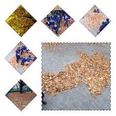 OTOÑO. Hoy el jardín estaba lleno de hojas caídas y hemos salido a jugar con ellas. También hemos dibujado una estrella de Belén. Alumnos de 5 años . Colegio Nuestra Sra. Santa María. Madrid.