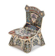 A silver-gilt and shaded enamel salt throne; Feodor Rückert, Moscow, 1908-1917. Photo: Bonhams.