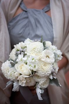 white dahlias, brunia, dusty miller, silver berry, stock, ranunculus, white roses, white bouquet