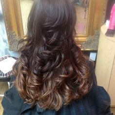 no filter, brown and carmel colored hair, layered waves, chocolate colored hair, full, bouncy hair, shinny, ombre' ombre,