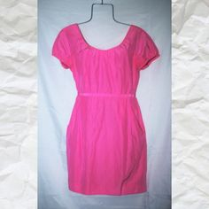 J. Crew Pink Fitted Dress J.Crew pink fitted dress with pockets and back zipper super cute perfect for wedding or other special occasions in excellent J. Crew Dresses Wedding