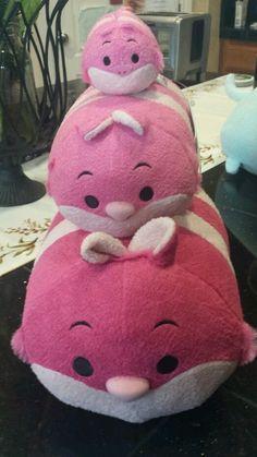 "Disney Store Japan Tsum Tsum CHESHIRE CAT Set of 3_LG(12""),Med(8"") + Small(3.5"")"