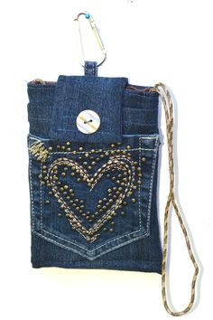 Phone case, phone sleeve, padded phone bag, upcycled denim phone bag, cell phone bag, mini purse by mimisfunstuff on Etsy