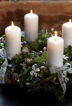 Pine boughs and candles.