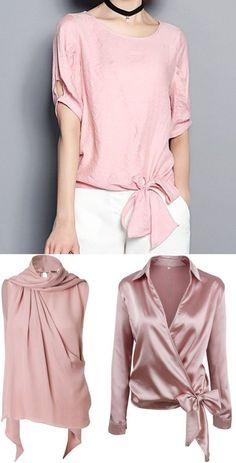 Moda anti-idade: Primavera romântica - Blusinha rosé ⋆ De Frente Para O Mar Blouse Styles, Blouse Designs, Umgestaltete Shirts, Hijab Fashion, Fashion Outfits, Mode Hijab, Chic Outfits, Casual Chic, Casual Wear