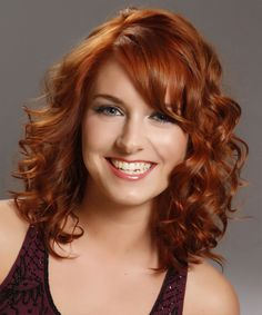 Oval Face Shape medium Hairstyles for curly hair | Formal Medium Curly Hairstyle - Medium Red Layered - 13945 ...