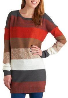 On the Horizon Line Sweater. As the day slowly draws to a close, you look to the horizon for the fiery hues of sunset. #multi #modcloth